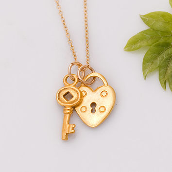 Gold Heart and Key Necklace - Heart Lock Charm Necklace - Love Necklace - Gift for her -