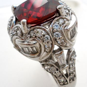 Red CZ Cocktail Ring Sterling Silver Size 7