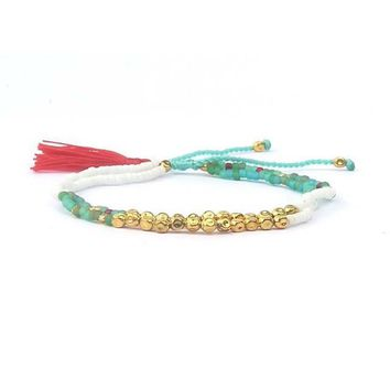 Cute Handmade Tasseled Seed Bead Friendship Bracelet