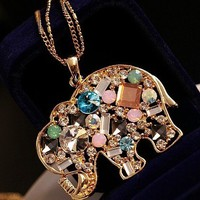 Retro color diamonds Crystal elephant necklace