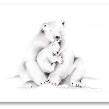 Polar Bear Family Pencil Drawing Print