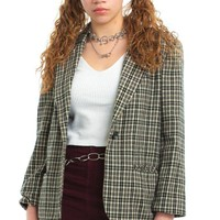 Vintage 80's Plaid Single-Button Blazer - M