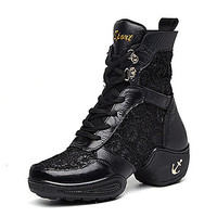 [$44.99] Women's Dance Shoes Boots Leather+Lace Split Sole Low Heel Black/White
