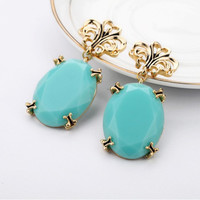 Oversize Blue Gemstone Earrings 051880A from psiloveyoumoreboutique
