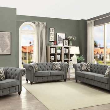 Acme 52425-26 2 pc Aurelia gray linen tufted backs sofa and love seat set