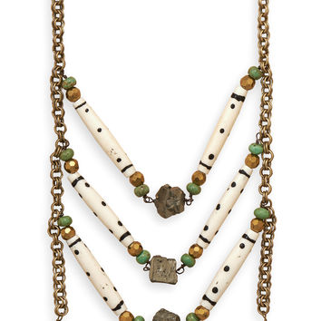 Brass Necklace with Pyrite and Bone