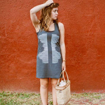 SALE Seismic mini dress for women - cotton dress tunic in asphalt gray - racerback tank dress by Blackbird Tees