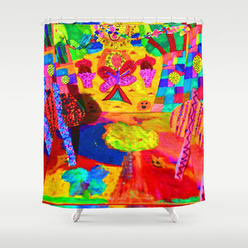 Colorful Feast | Kids Painting Shower Curtain by Azima