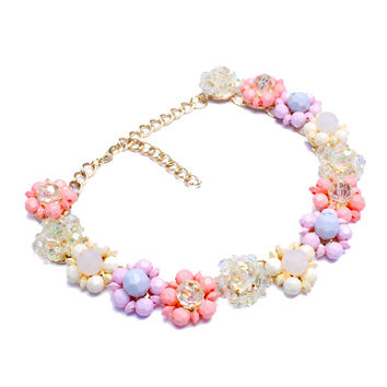 Multicolor Cluster Floral Stone Necklace