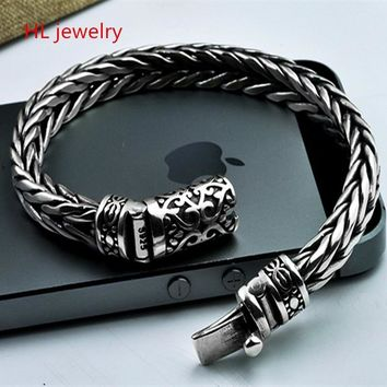 925 Sterling Silver Jewelry Bracelets for Women Men Vintage S925 Width 7mm Solid Thai Silver Chain Charms Bracelets & Bangles