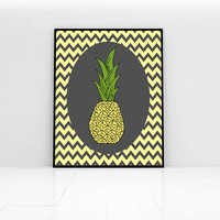 Yellow and grey chevrons with oval pineapple kitchen art print. Housewarming gift idea or great treat for yourself. Dining room wall art.