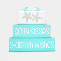 Beach Starfish Salty Kisses Starfish Wishes WoodenBlock Shelf Sitter Stack Ocean Decor Beach Color Palette