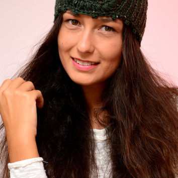 Hippie style ear warmer, dark green crochet headband,  winter headband,  crochet ear warmer, merino wool ear warmer, warm boho headband.
