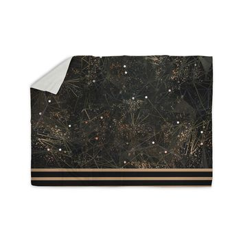 "Marianna Tankelevich ""Golden Space Geometry"" Black Gold Digital Sherpa Blanket"
