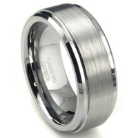 8MM High Polish / Matte Finish Men's Tungsten Ring Wedding Band Sz 15.0