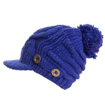 Cable Knit Hat with Buttons and Pom Pom