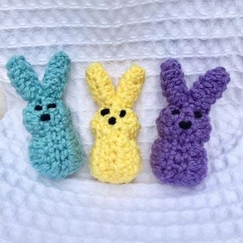 Peeps Crochet Easter Springtime Home Decor Blue Yellow Purple Set of 3 Spring Colors - Easter Bunny Home Accents - Easter Basket Stuffers