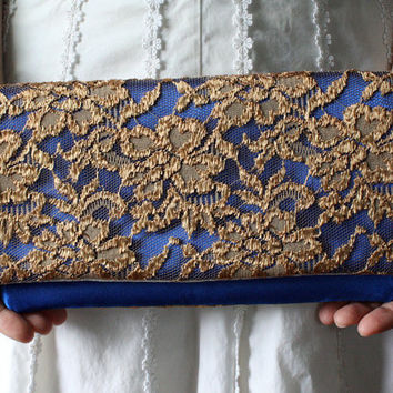 The LENA CLUTCH - Gold Lace and Saphhire Blue Satin Clutch - Wedding Clutch Purse - Bridesmaid Gift Idea