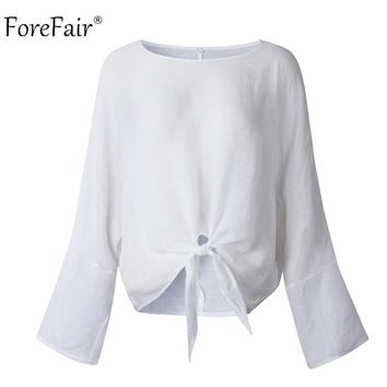 Forefair Long Sleeve Crop Tops Women Summer Autumn Batwing Sleeve Loose White Shirt Casual Patchwork Tops Ladies Cotton Shirt