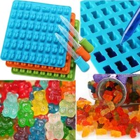 DCCKU7Q 53 Cavity Silicone Gummy Bear Chocolate Mold Candy Maker Ice Tray Moulds