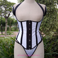 New Style Black and White Striped Underbust Corset Punk gothic Club Steampunk