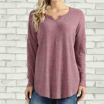 Heather Burgundy Notch Neck Tunic - Plus Too