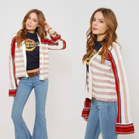 Vintage 70s Open Front CARDIGAN Striped HIPPIE Sweater Bell Sleeve Boho CROP Cardigan