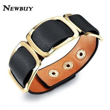 NEWBUY FASHION Women Charm Trendy Jewelry Black / Orange / Leopard Wide Leather Rope Wrap Bracelet Vintage Bangles Party Gifts