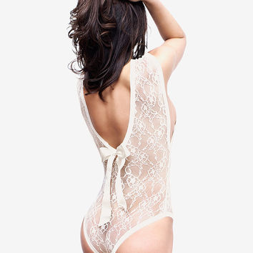 Ivory Bodysuit Lingerie / Pearl Lace Bodysuit / French Lace Lingerie / Sheer Lace Leotard / Sheer Bodysuit / Floral Lace / Lace Teddy
