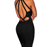 Eva Black Keyhole Cutout Detail Dress