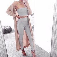Heidi Gray Suede Two-Piece Jumpsuit