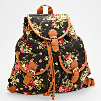 Floral Backpack Handbag Leather Black