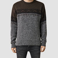 Mens Oakes Crew Sweater (FAWNMRL/CHARCOALMR) | ALLSAINTS.com