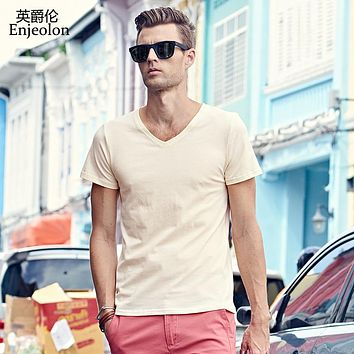 new cotton t shirt men 3 color solid clothing v neck short sleeve clothes fashion casual clothing