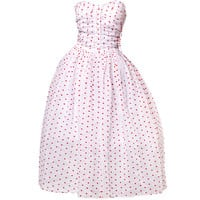 Vintage 1950's Strapless Sweetheart Polka Dotted Party Dress