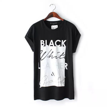 Stylish Round-neck Short Sleeve Alphabet Print Cotton Women's Fashion Casual Tops T-shirts [5013380676]