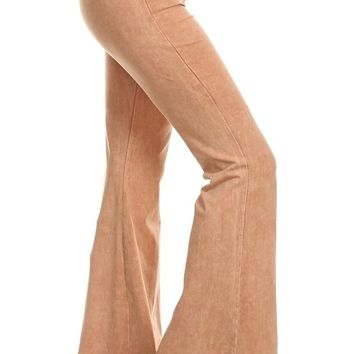 Chatoyant Mineral Wash Flare Pants in Camel