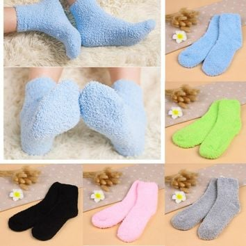 Girls Womens Winter Warm Socks Striped Pure Color Soft Fluffy Sock Kids Gift #C69U# Drop ship