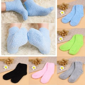 Girls Womens Winter Warm Socks Striped Pure Color Soft Fluffy Sock Kids Gift