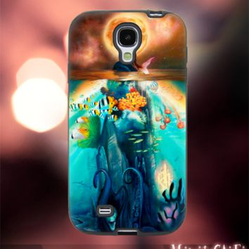 MC12Y,18,Ariel little mermaid,stained,glass -Accessories case cellphone- Design for Samsung Galaxy S5 - Black case - Material Soft Rubber