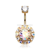 Golden Aurora Sparkle Belly Button Ring (Clear/Aurora Borealis)