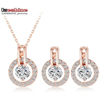 Wedding Jewelry  Rose Gold Plated Necklace/Earring Bijouterie Sets