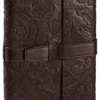 Brown Leather Embossed Lined Bound Journal with Tab Closure (6