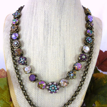 MALORY Victorian style Swarovski crystal necklace, neutral colors, ornate flowers, purple and opals, OOAK Siggy bling