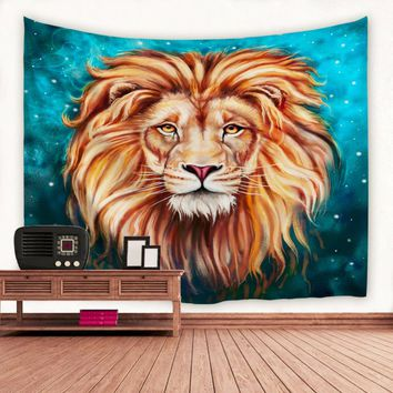 Lion King Wall Tapestry 100% Polyester Printing Indian Mandala Tapestry Wall Hanging Tapestries Shawl Sofa Wall Blanket -OE