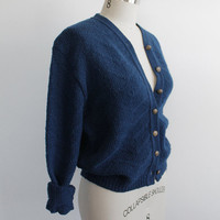Vintage 70s Navy Blue Pendleton Wool Knit Cardigan | women's m/l