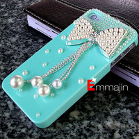 pretty iphone 4case,Pearl varabow  iPhone 4 case,iphone 4S  case ,  Diamond varabow  iphone4 case,blue  iphone 4 4scase