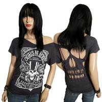 Guns n Roses Band Shredded/ Cut/  Skull Cut Back  T Shirt /Top Guns n Roses TShirt Size M/Medium  Rebeltude
