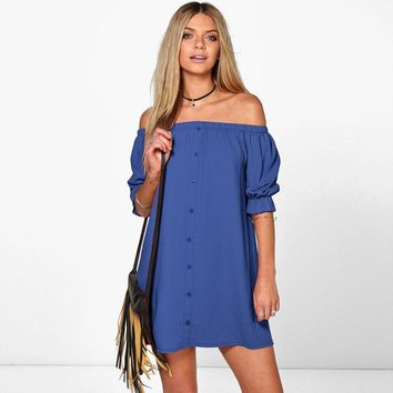 Blue Tube Top Off Shoulder Short Sleeve Dress