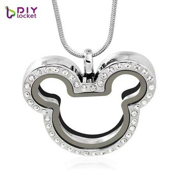 ac spbest diylocket Mickey Rhinestone magnetic glass floating charm locket necklace pendant (chains included for free) LSFL013